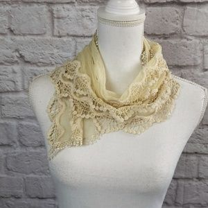 Ivory Lace Scarf Wrap Small